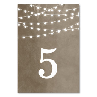 Summer String Lights Wedding Table Numbers Table Card