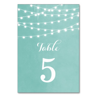 Summer String Lights Wedding Table Numbers Table Cards