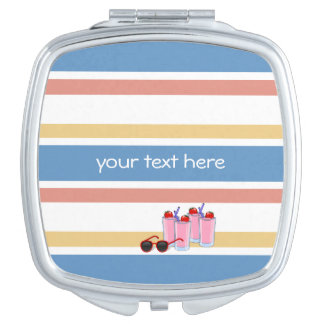 Summer Stripes custom pocket mirror Makeup Mirrors