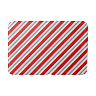 Summer stripes - deep red white and gray / grey bath mat