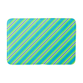 Summer stripes - turquoise and lime green bath mat
