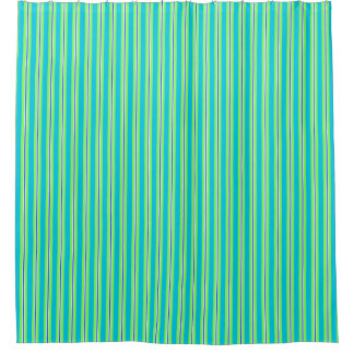 Summer stripes - turquoise and lime green shower curtain