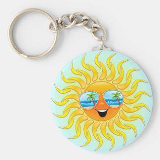 Summer Sun Cartoon with Sunglasses keychain