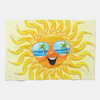 Summer Sun Cartoon with Sunglasses kitchen towels