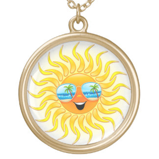 Summer Sun Cartoon with Sunglasses necklace