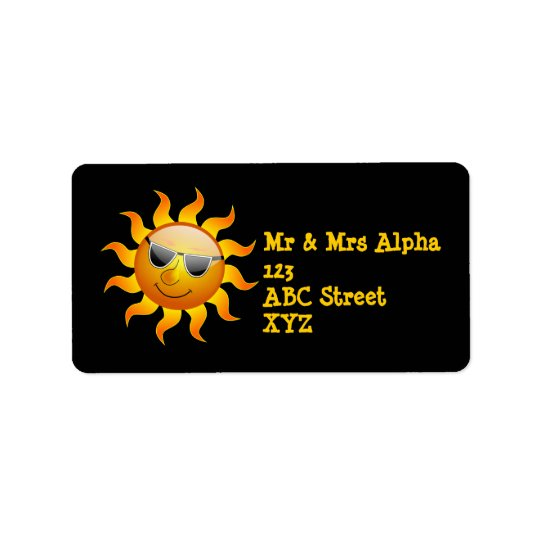 Summer Sun funny Label Address Label