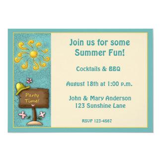 """Summer Sun Party Invitation 5"""" X 7"""" Invitation Card"""