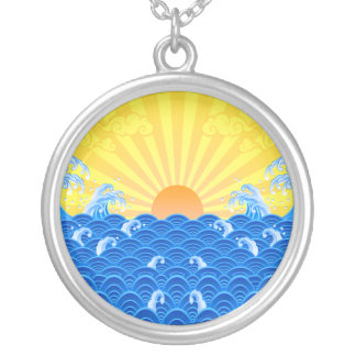 Summer Sun Summer Waves Silver Plated Necklace