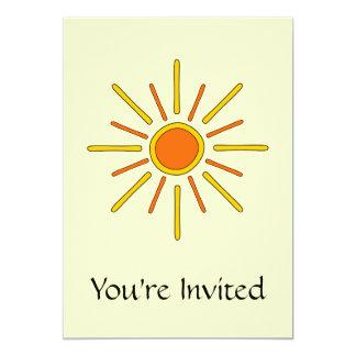 Summer sun. Yellow and orange. 13 Cm X 18 Cm Invitation Card