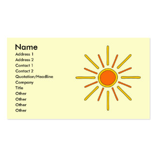 Summer sun. Yellow and orange. Pack Of Standard Business Cards