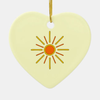 Summer sun. Yellow and orange. Ceramic Heart Decoration