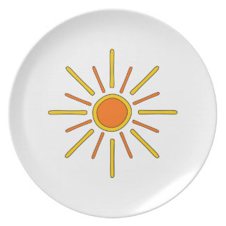 Summer sun. Yellow and orange. Plate