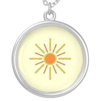 Summer sun. Yellow and orange. Silver Plated Necklace