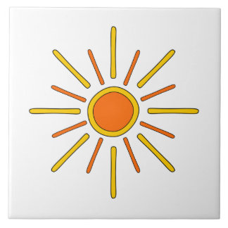 Summer sun. Yellow and orange. Tile