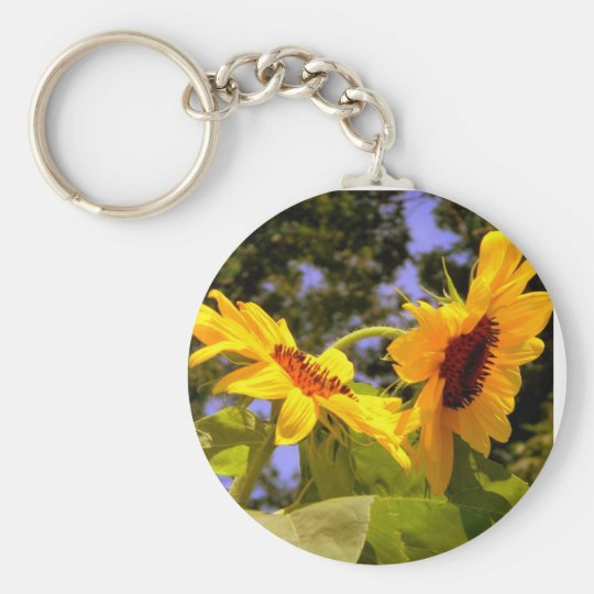 Summer Sunflower 2 Basic Round Button Key Ring