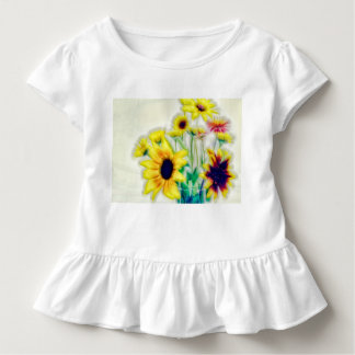 Summer Sunflower and Strawflower Bouquet Toddler T-Shirt