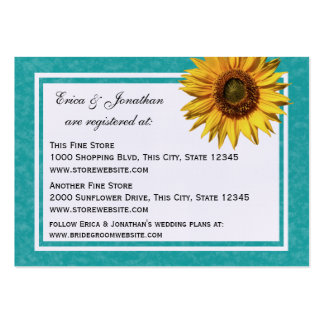 Summer Sunflower Bridal Registry Cards Pack Of Chubby Business Cards