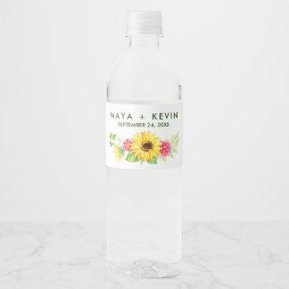 Summer Sunflower Wedding Water Bottle Label