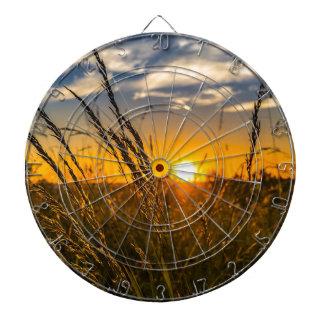 Summer Sunset Meadow Nature Landscape Sun Dartboard