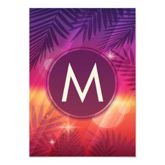 Summer Sunset Palm Trees Monogram Purple Orange 13 Cm X 18 Cm Invitation Card