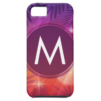 Summer Sunset Palm Trees Monogram Purple Orange iPhone 5 Cases