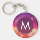 Summer Sunset Palm Trees Monogram Purple Orange Key Ring