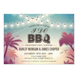 Summer Sunset String Lights I DO BBQ Engagement 13 Cm X 18 Cm Invitation Card