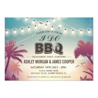 Summer Sunset String Lights I DO BBQ Engagement Card