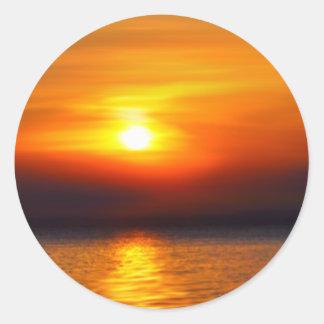 summer sunset tropical round sticker
