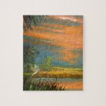 Summer Sunset with Blue Heron Jigsaw Puzzle