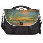Summer Sunset with Blue Heron Laptop Messenger Bag