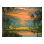 Summer Sunset with Blue Heron Postcard