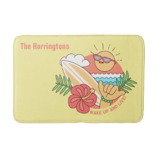 Summer Surfer custom name bath mats