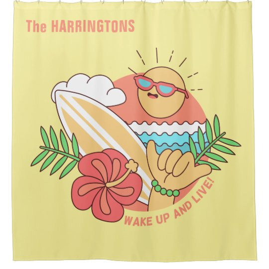 Summer Surfer custom name shower curtain