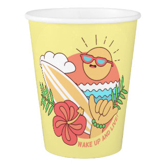 Summer Surfer paper cups