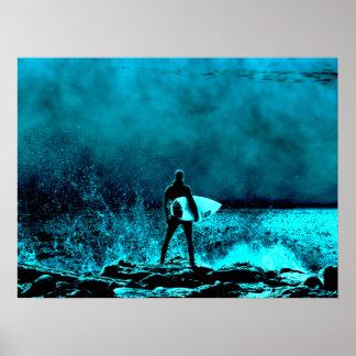 Summer Surfing Grunge Style Poster