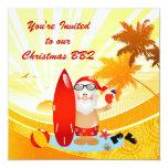 """Summer Surfing Santa 5.25"""" Square Invitation Card"""