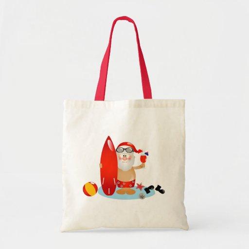 Summer Surfing Santa Tote Bags