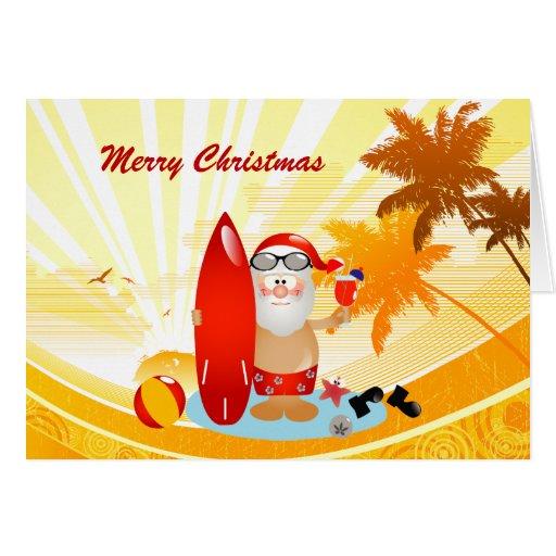 Summer Surfing Santa Greeting Cards