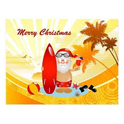 Summer Surfing Santa Post Card