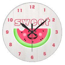 Summer Sweet Smiley Cartoon Watermelon Clock