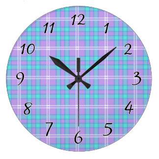 Summer Tartan Plaid Clock