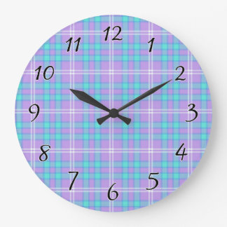 Summer Tartan Plaid Large Clock