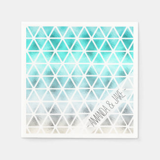 Summer teal blue ombre geometric triangles paper serviettes