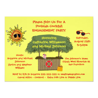 Summer Tiki Hut Beach Cocktail Engagement Party 14 Cm X 19 Cm Invitation Card