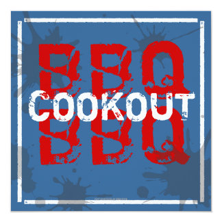Summer Time BBQ Cookout Splatter Party Invitation