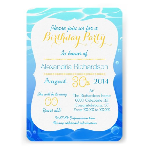 Summer time cute goldfish mermaid birthday party personalized invitations