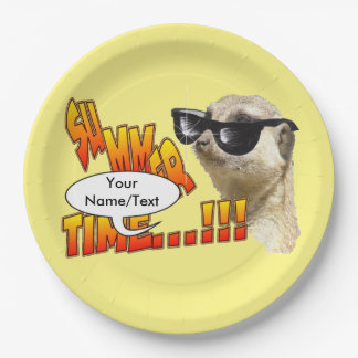 Summer Time Meerkat Customizable Paper Plates 9 Inch Paper Plate