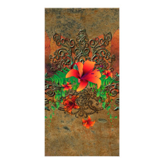 Summer time, red flowers picture card