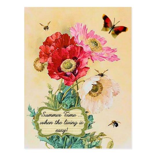 Summer Time Vintage Floral Poppies Postcard